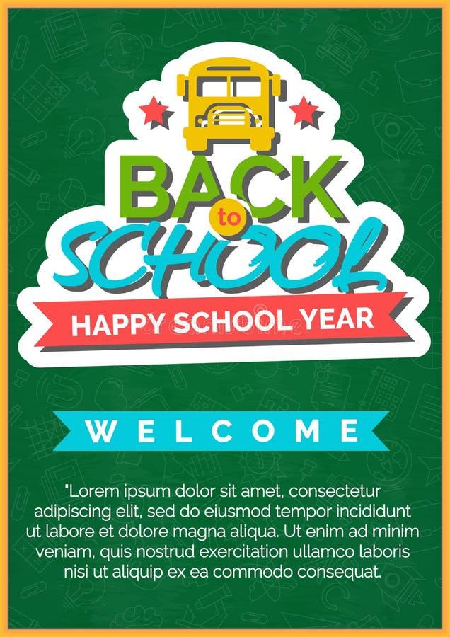 Di nuovo alla carta della scuola con l'etichetta di colore ed al bus sulla lavagna verde illustrazione vettoriale