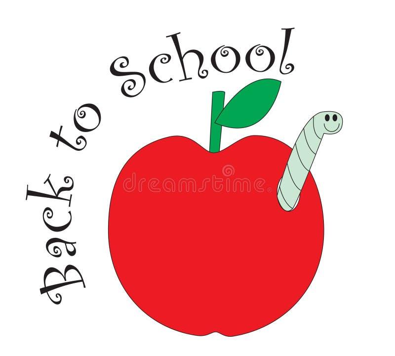 Di nuovo alla mela di colore rosso del banco illustrazione di stock