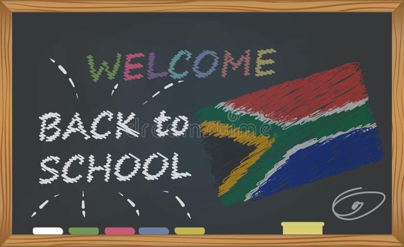 Di nuovo alla scuola con il concetto di infanzia e di apprendimento Insegna con un'iscrizione con il benvenuto del gesso di nuovo illustrazione vettoriale