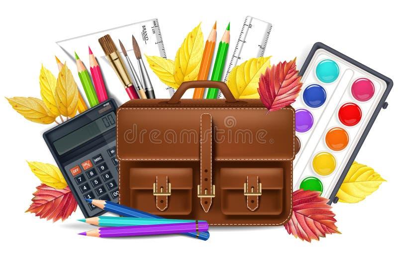 Di nuovo alla scuola con le matite della borsa ed altro strumenti di disegno Vector realistico Illustrazioni dettagliate 3d illustrazione di stock