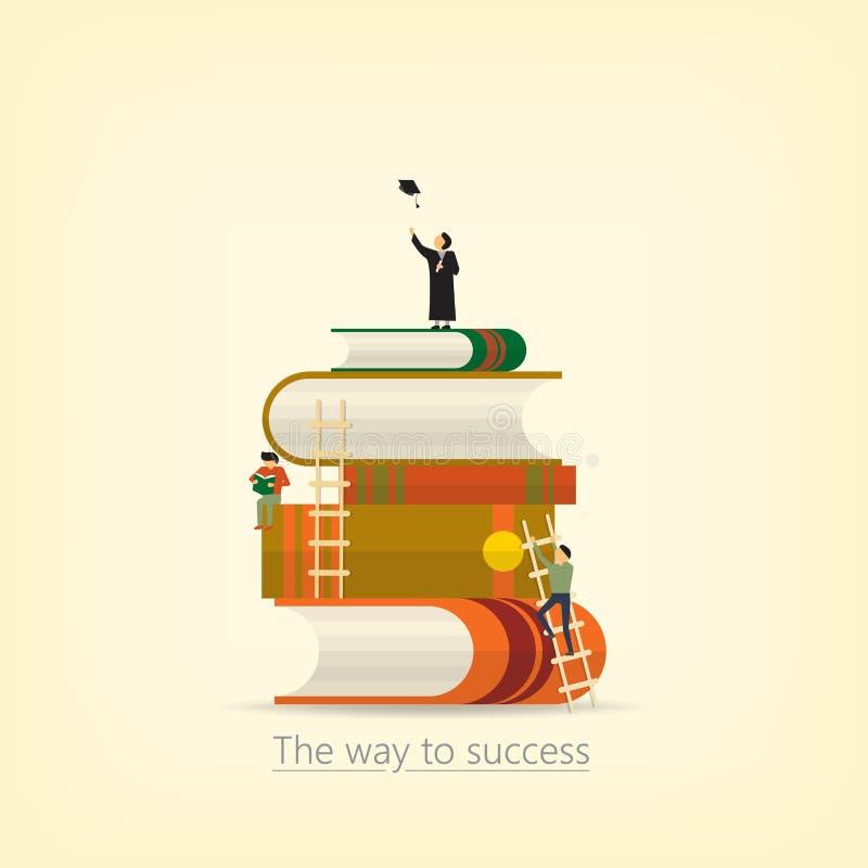 Di nuovo alla scuola, concetto del libro il modo a successo Lo stacke del libro illustrazione vettoriale