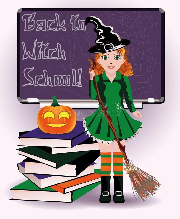 Di nuovo alla scuola della strega Libri svegli della zucca e della strega illustrazione di stock