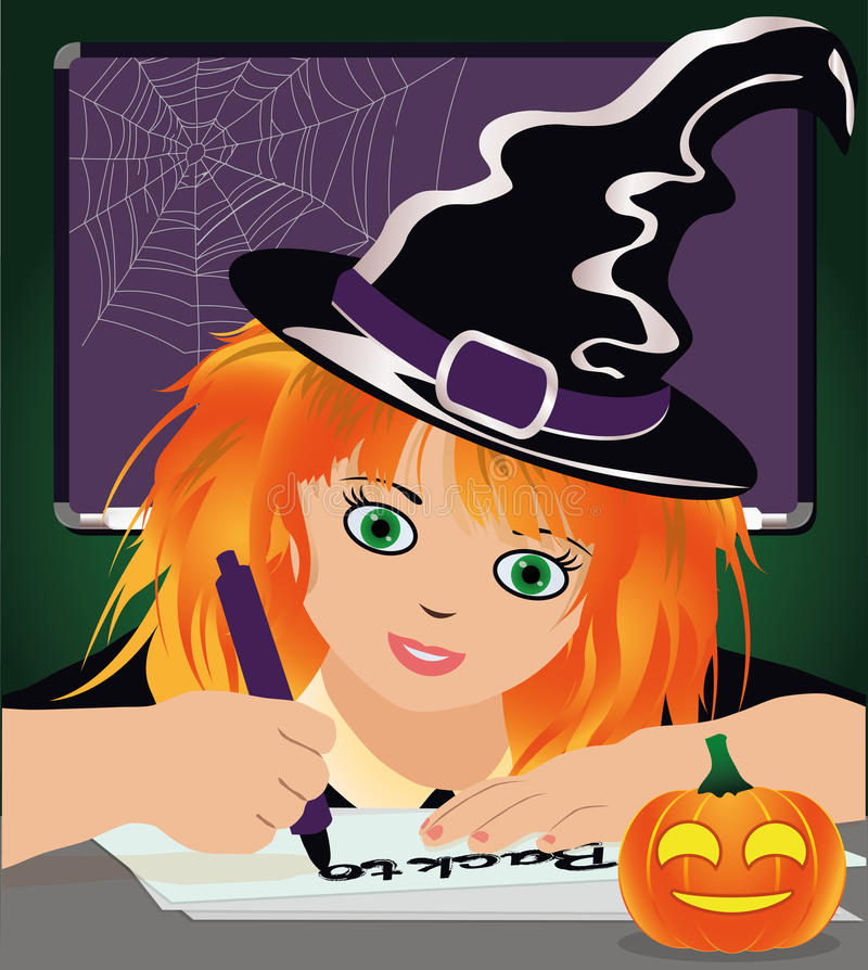 Di nuovo alla scuola della strega Piccola strega sveglia che studia alla biblioteca royalty illustrazione gratis