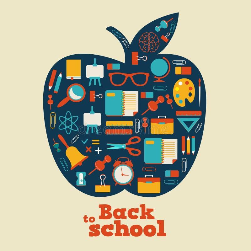Di nuovo alla scuola - fondo con la mela e le icone illustrazione vettoriale