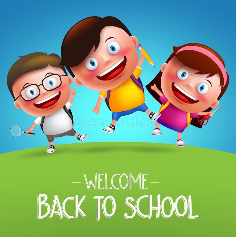 Di nuovo alla scuola gli studenti vector il salto divertente dei bambini dei ragazzi e delle ragazze dei caratteri illustrazione vettoriale