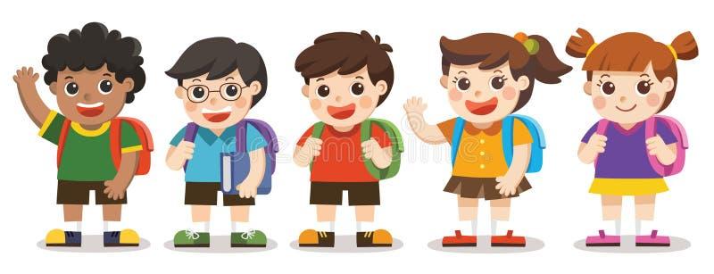 Di nuovo alla scuola, i bambini svegli vanno a scuola illustrazione di stock