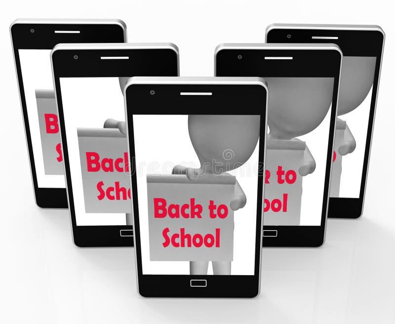 Di nuovo alla scuola il telefono mostra l'inizio del termine illustrazione di stock