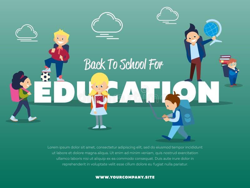 Di nuovo alla scuola per l'insegna di istruzione illustrazione di stock