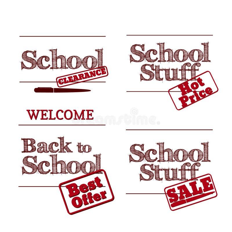 Di nuovo alla scuola - retro logos di progettazione di tipografia Vendita e clearan illustrazione vettoriale