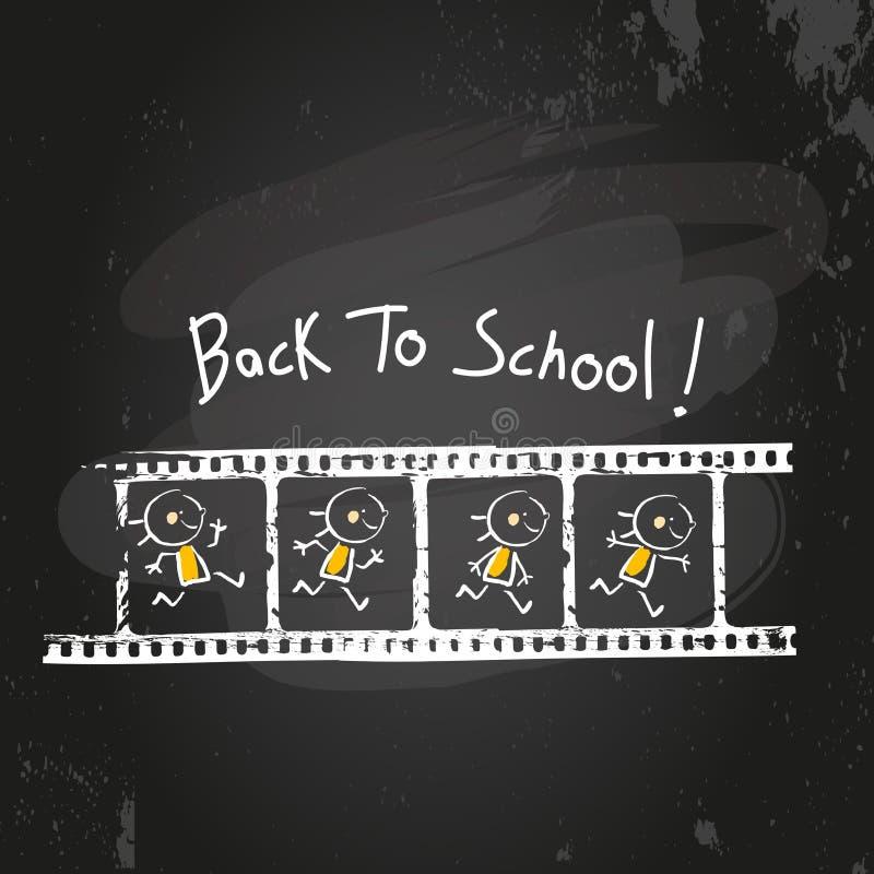 Di nuovo alla striscia di pellicola del bambino della scuola illustrazione di stock
