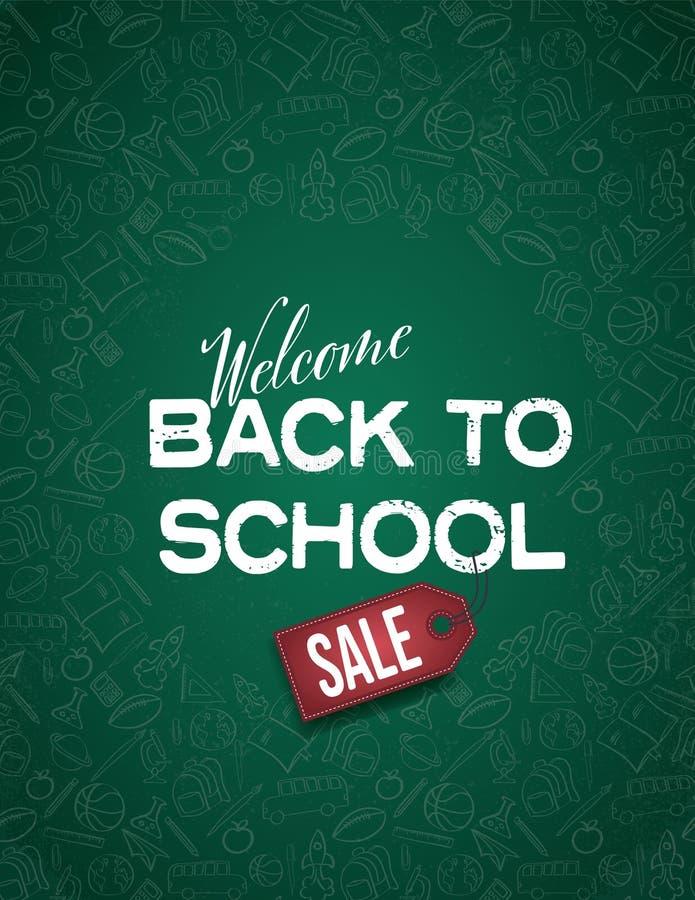 Di nuovo alla vendita della scuola il manifesto o l'insegna con gli oggetti della scuola scarabocchia il modello nel fondo, conce royalty illustrazione gratis