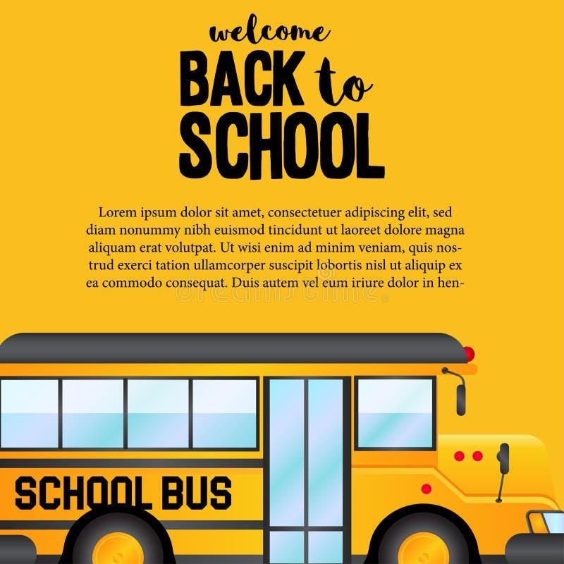 Di nuovo alla vista laterale di bus della scuola dell'insegna gialla del trasporto royalty illustrazione gratis