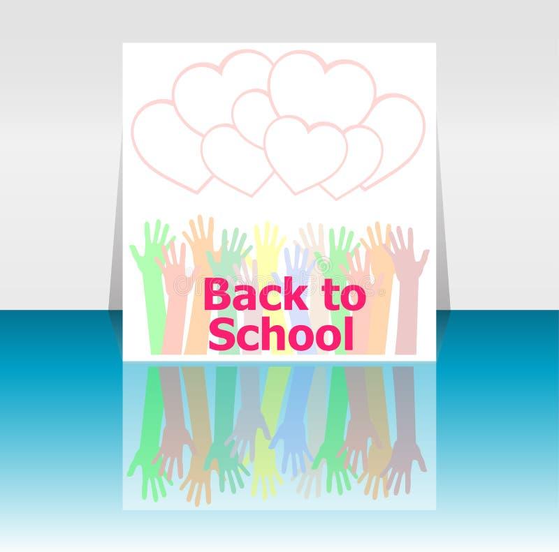 Di nuovo alle mani di parola e della gente della scuola, cuori di amore, istruzione royalty illustrazione gratis