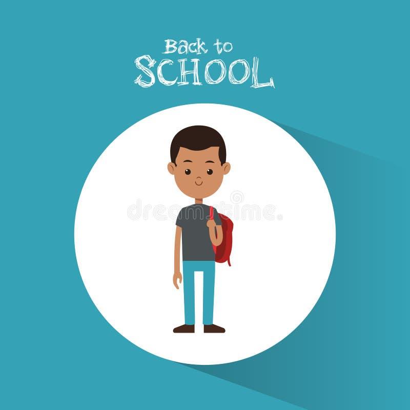 Di nuovo allo zaino di rosso del ragazzo di afro dello studente della scuola royalty illustrazione gratis