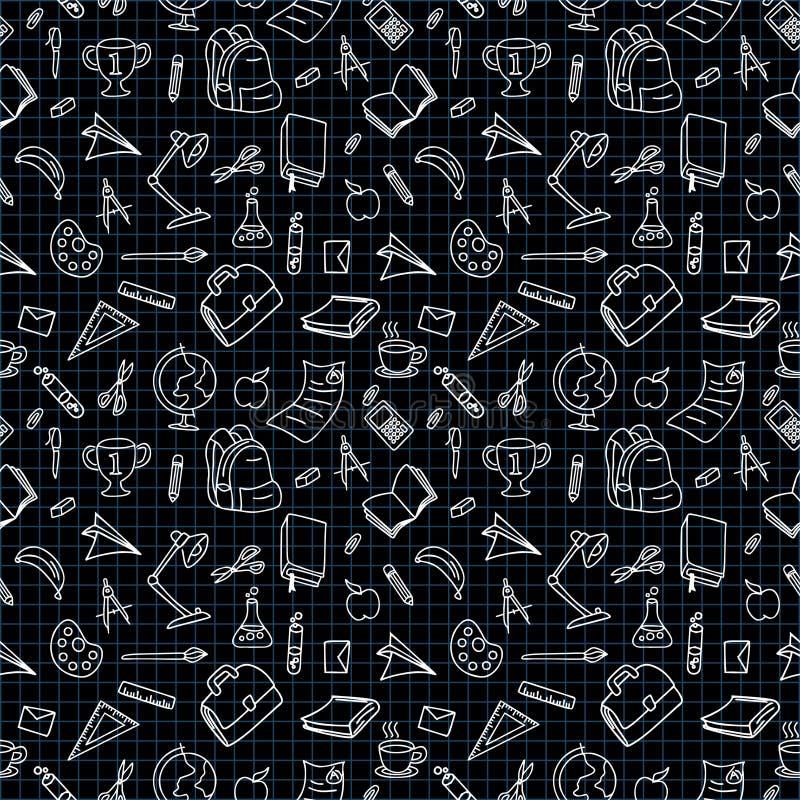 Di nuovo a colore in bianco e nero di scarabocchio della scuola dell'illustrazione di vettore del disegno a tratteggio royalty illustrazione gratis
