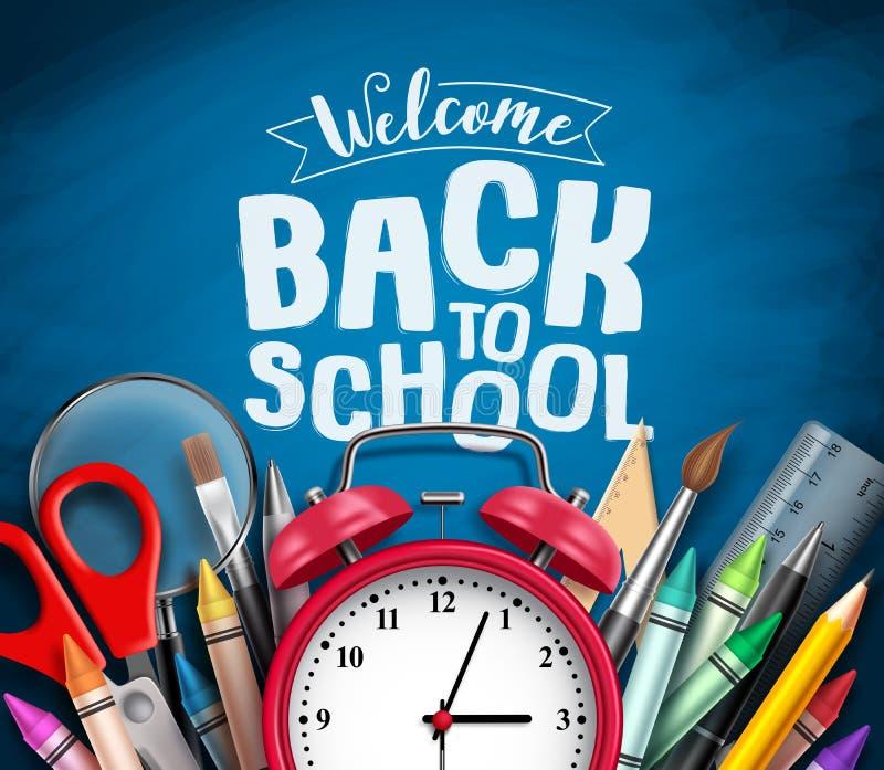 Di nuovo a progettazione dell'insegna di vettore della scuola con gli elementi della scuola, gli elementi, la sveglia ed il benve royalty illustrazione gratis