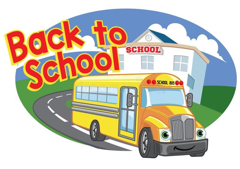 Di nuovo a progettazione della scuola con lo scuolabus felice del fumetto illustrazione di stock