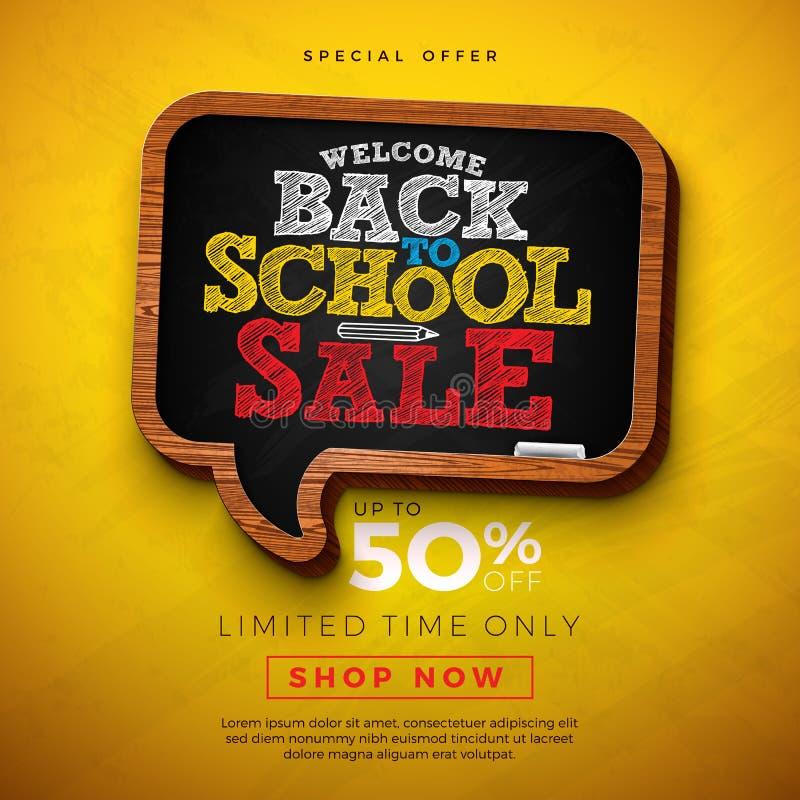 Di nuovo a progettazione di vendita della scuola con la lavagna ed alla lettera di tipografia su fondo giallo Concetto di istruzi royalty illustrazione gratis