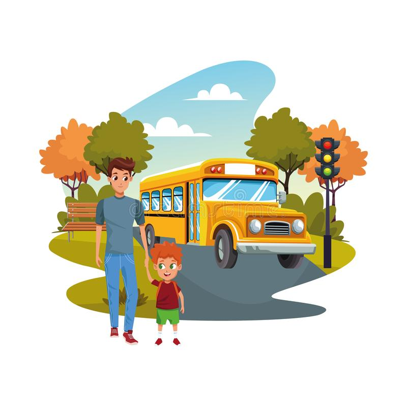 Di nuovo a scuola con felicità e figlio e scuolabus del padre illustrazione vettoriale