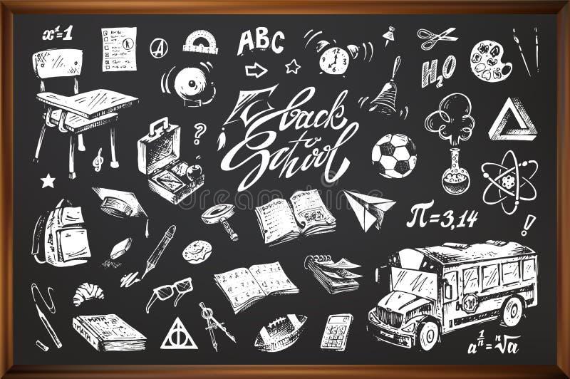 Di nuovo a scuola, icone disegnate a mano di vettore illustrazione di stock