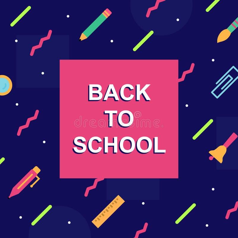 Di nuovo a stile variopinto di Memphis del modello di copertura della scuola con i rifornimenti di istruzione illustrazione vettoriale