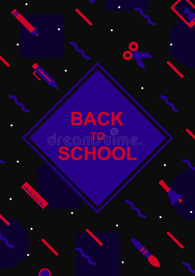 Di nuovo a stile variopinto di Memphis del modello di progettazione della copertura della scuola royalty illustrazione gratis
