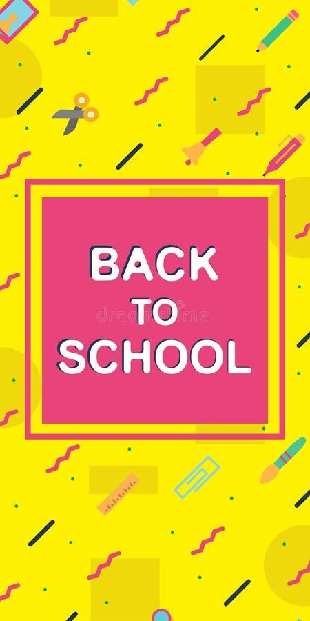 Di nuovo a stile variopinto di Memphis dell'insegna verticale della scuola con i rifornimenti di istruzione illustrazione di stock