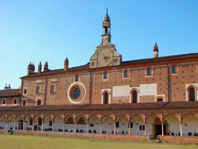 Di Pavia de Certosa, claustro grande imagens de stock