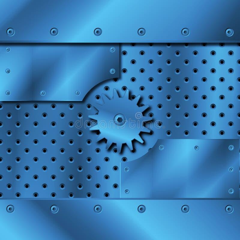 Di piastra metallica blu ed attrezzi illustrazione vettoriale