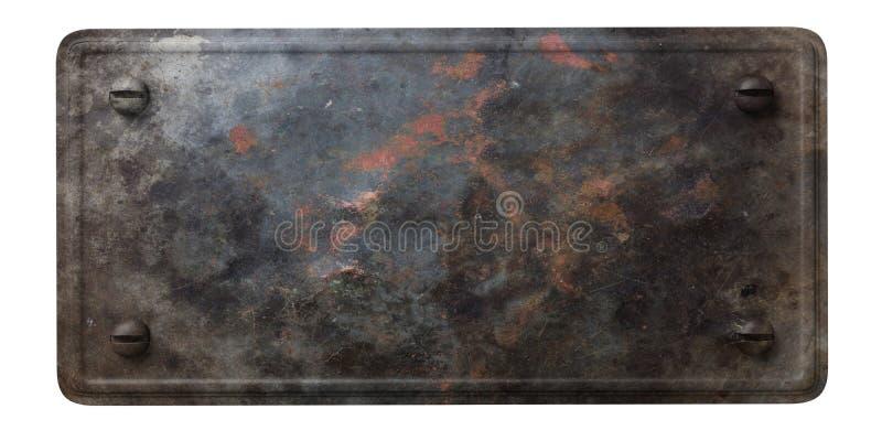 Di piastra metallica nero arrugginito con i bulloni isolati su fondo bianco illustrazione 3D illustrazione vettoriale