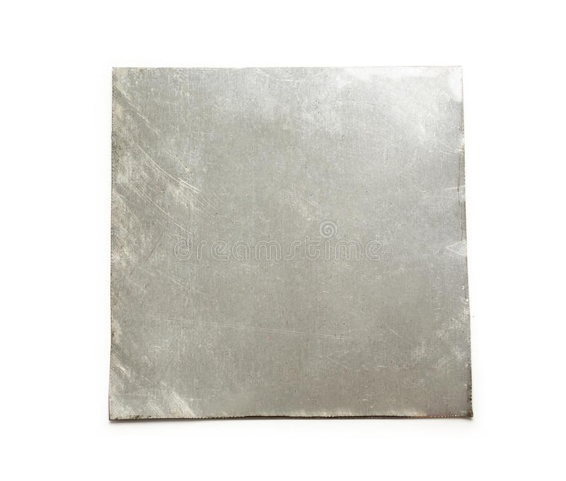 Di piastra metallica quadrato in bianco fotografia stock libera da diritti