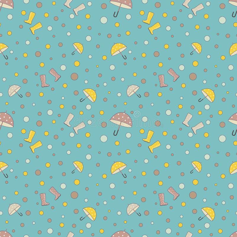 Di pois del modello senza cuciture semplice sveglio, di ombrelli e di stivali di pioggia colorati multi Vettore La stampa per la  royalty illustrazione gratis