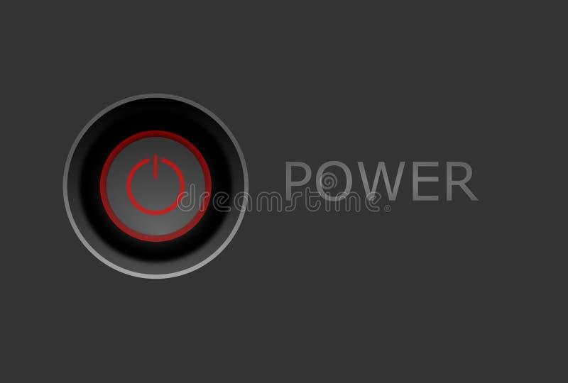 Di potere illustrazione rossa del bottone sopra royalty illustrazione gratis