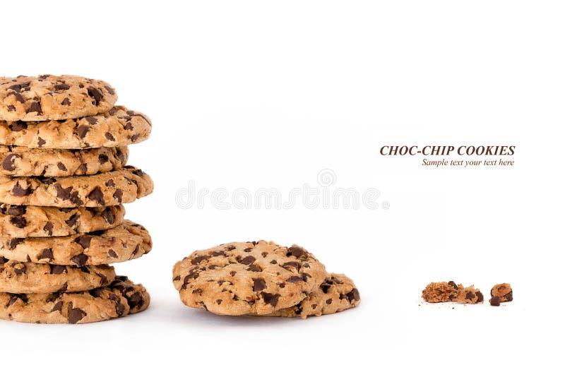 Di recente biscotti al forno deliziosi del chip del choc fotografia stock