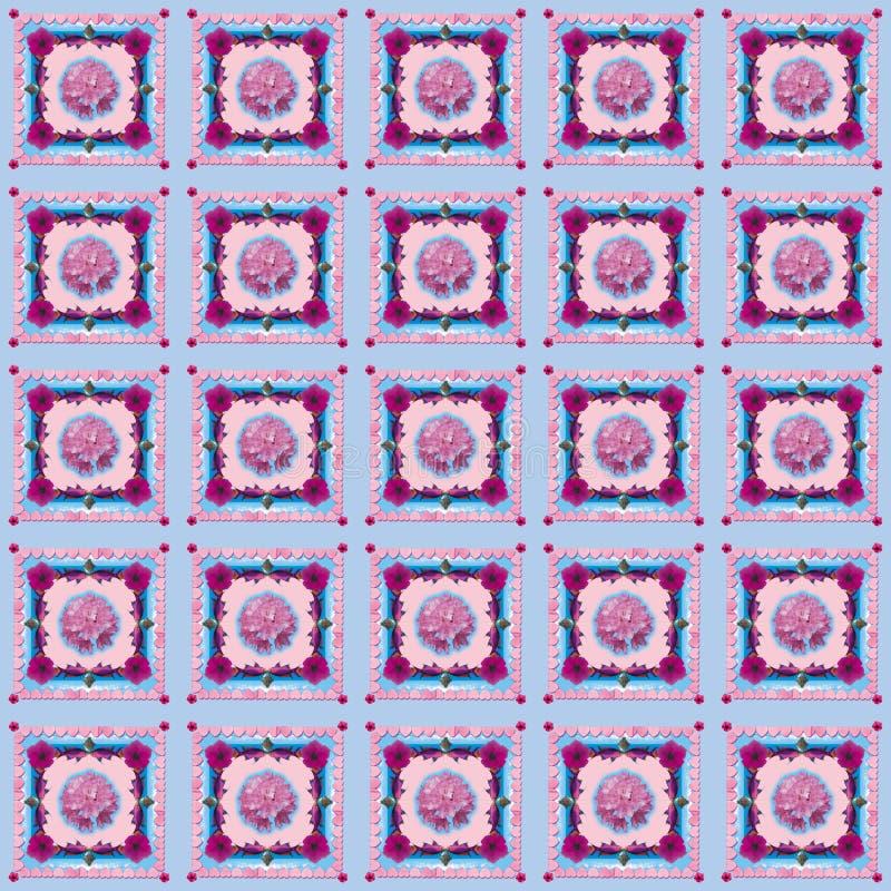 ` Di Rododendron del ` - progettazione senza cuciture del modello nello stile creativo del collage - pastelli e rose illustrazione di stock