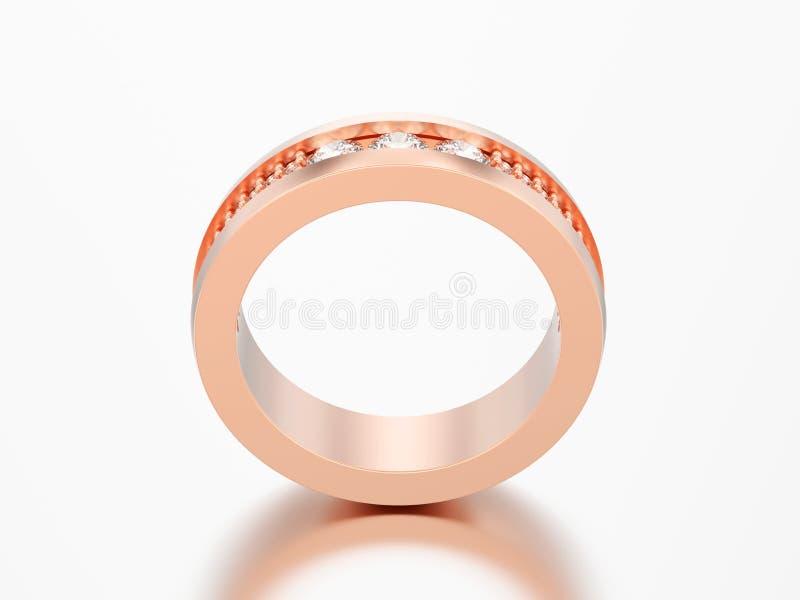 Di rosa della banda di anniversario di nozze di impegno dell'oro dell'illustrazione 3D illustrazione vettoriale