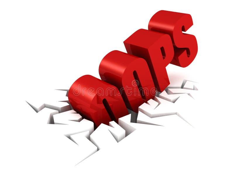 Di rosso lettere del testo OOPS in foro della crepa royalty illustrazione gratis