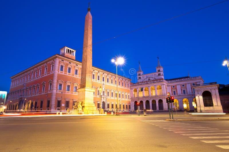 Di San Giovanni della piazza in Laterano nella vista di sera di Roma fotografia stock libera da diritti