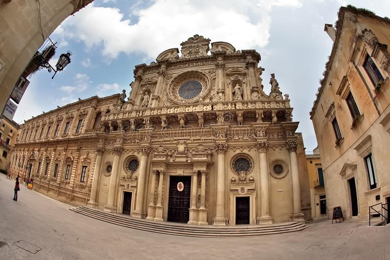 Di Santa Croce da basílica, igreja da cruz santamente, Lecce, Apulia, Itália fotos de stock