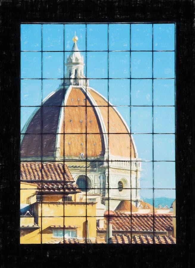 Di Santa Maria del Fiore atrás da janela, Florença de Cattedrale, ilustração do vetor