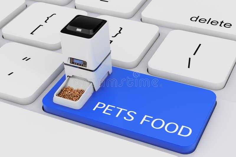 Di secos del alimentador de la comida del almacenamiento de la comida del animal doméstico electrónico automático de Digitaces ilustración del vector