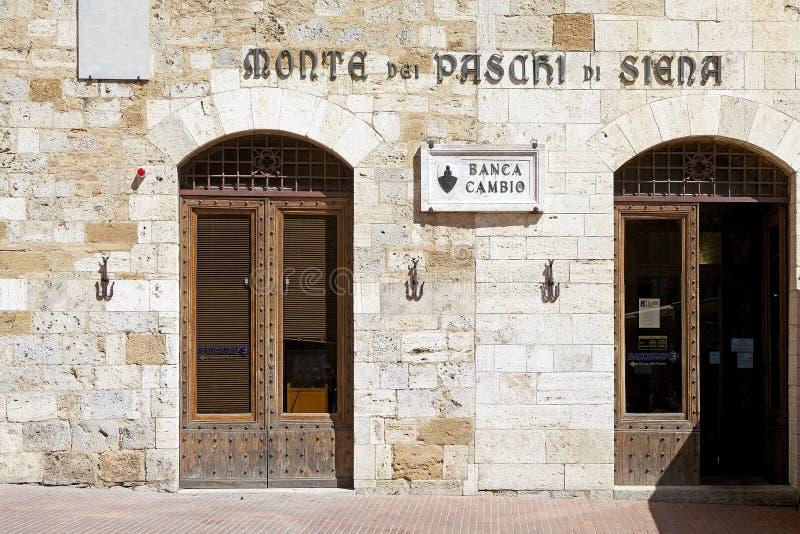 Di Siena Bank, Toscanië, Italië van Paschi van Montedei royalty-vrije stock afbeeldingen