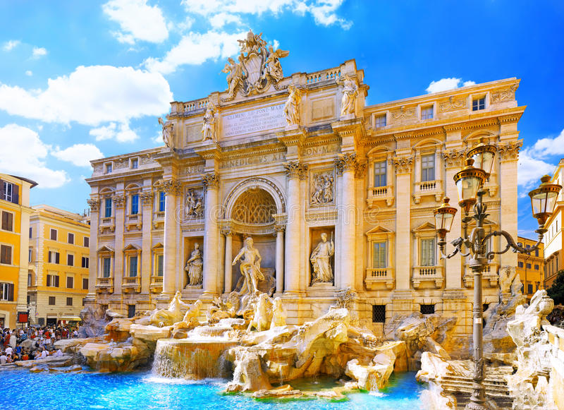 di springbrunn italy rome trevi arkivbild