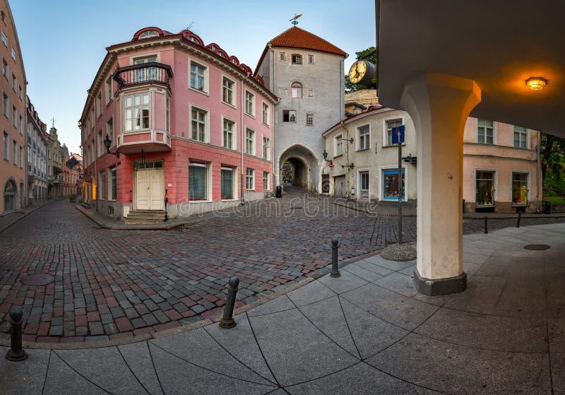 Di Tallinn città giù e portone alla città superiore, Tallinn della torre fotografia stock libera da diritti