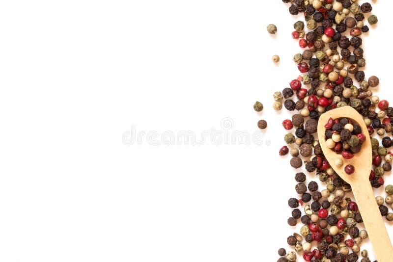 Di tipo misto dei granelli di pepe su fondo bianco, sulla vista superiore o sul colpo sopraelevato fotografie stock libere da diritti