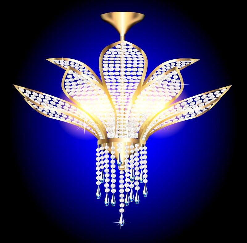 Di un candeliere moderno con i pendenti di cristallo royalty illustrazione gratis