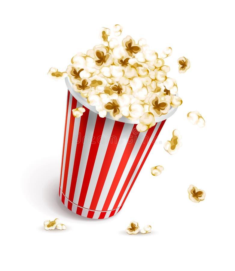 Di vetro di carta in pieno di popcorn illustrazione di stock