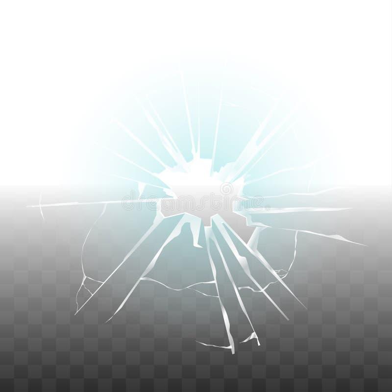 Di vetro rotto a causa del vettore trasparente sparato pallottola illustrazione vettoriale