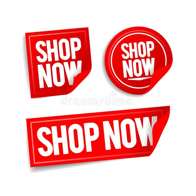 Di vettore dell'illustrazione del negozio bottoni ora, autoadesivi online del deposito messi illustrazione di stock