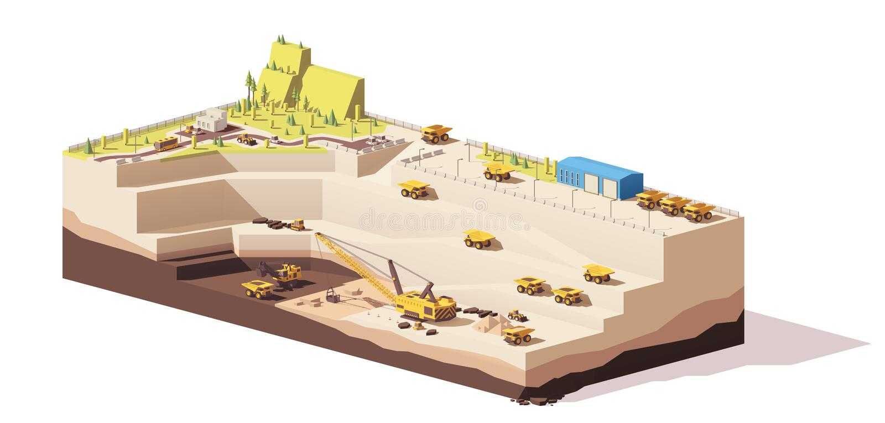 Di vettore poli miniera aperta del carbone fossile in basso illustrazione di stock